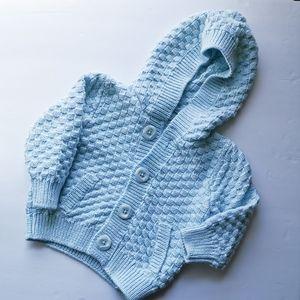 Basket Weave Unisex Sweater Button Up Hood